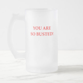 BUSTED FROSTED GLASS BEER MUG