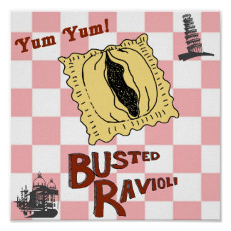 Busted Ravioli Funny Italian Poster