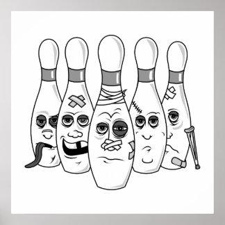 busted up bowling pins greys print
