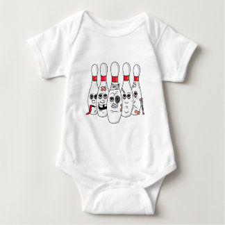 busted up injured bowling pins cartoon baby bodysuit