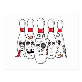 busted up injured bowling pins cartoon postcard