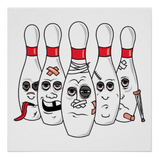 busted up injured bowling pins cartoon poster