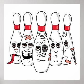 busted up injured bowling pins cartoon poster
