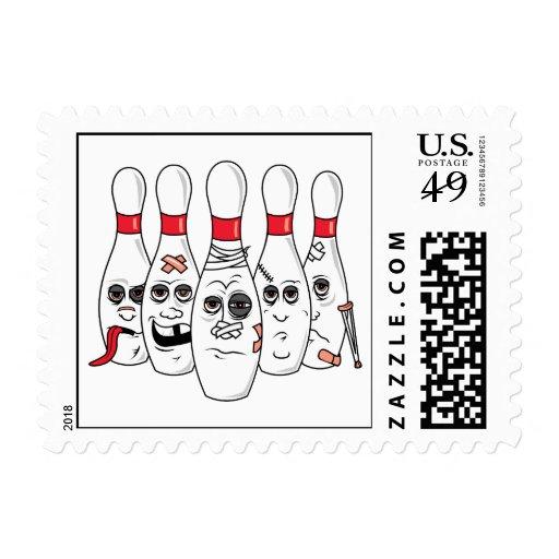 busted up injured bowling pins cartoon stamp