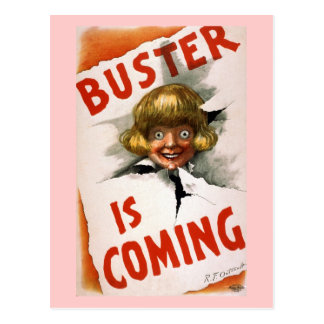 Buster is Coming Vintage Theater Poster Postcard