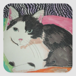 Buster the cat square sticker