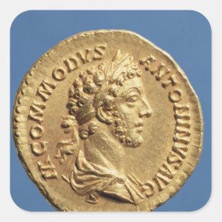 Busto aurífero de Commodus Pegatina Cuadrada