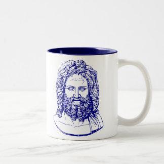 busto azul de la taza de Zeus