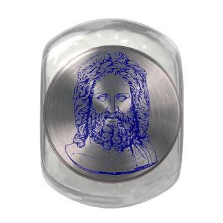 busto azul del tarro de cristal del regalo de Zeus Jarrones De Cristal