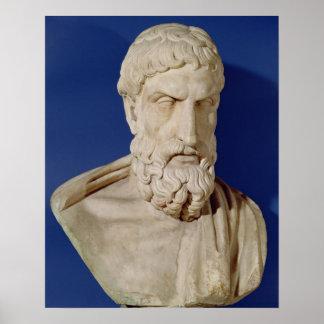 Busto de Epicurus Póster
