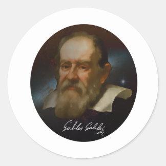 Busto de Galileo Galilei Etiquetas Redondas