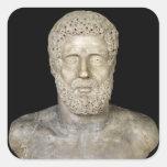 Busto de Hércules Calcomania Cuadradas Personalizada