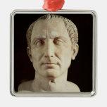 Busto de Julio César 2 Adorno Navideño Cuadrado De Metal