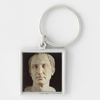 Busto de Julio César 2 Llavero Cuadrado Plateado