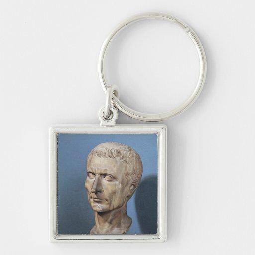 Busto de Julio César Llavero Cuadrado Plateado