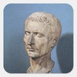 Busto de Julio César Pegatina Cuadradas Personalizada