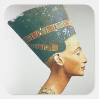 Busto de la reina Nefertiti, vista lateral, del st Calcomanías Cuadradass Personalizadas