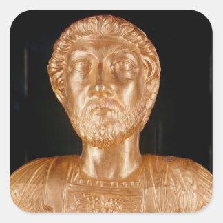 Busto de Marco Aurelius Pegatina Cuadrada