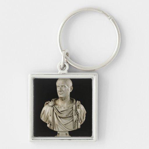 Busto de Marco Claudius Tácito Llavero Cuadrado Plateado