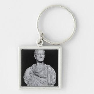 Busto de Marco Licinius Crassus Llavero Cuadrado Plateado