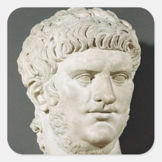 Busto de Nero Pegatina Cuadrada