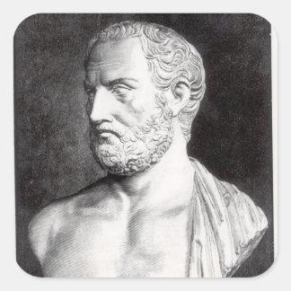 Busto de Thucydides, grabado por Barbant Pegatina Cuadrada