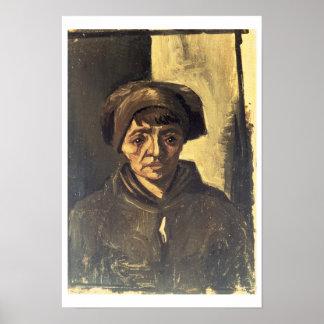Busto de un campesino 1884 aceite en lona poster