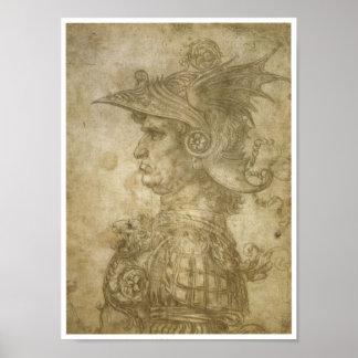 Busto de un guerrero, Leonardo da Vinci Póster