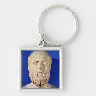 Busto de Zeno de Citium Llavero Cuadrado Plateado