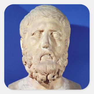 Busto de Zeno de Citium Pegatina Cuadrada
