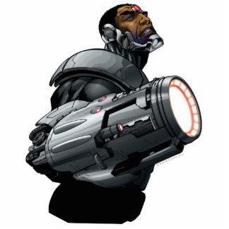 Busto del Cyborg y del arma Fotoescultura Vertical