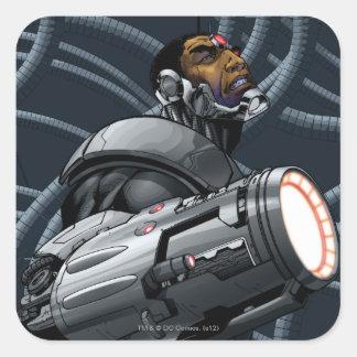 Busto del Cyborg y del arma Pegatinas Cuadradases Personalizadas
