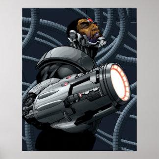 Busto del Cyborg y del arma Póster