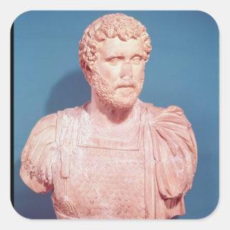Busto del emperador Antoninus Pius Pegatina Cuadrada