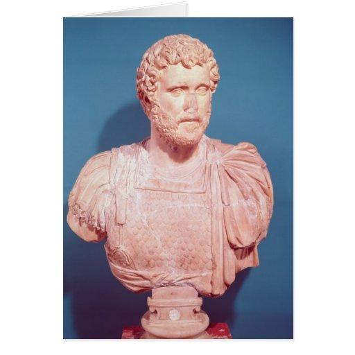 Busto del emperador Antoninus Pius Tarjetón