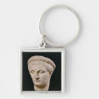 Busto del emperador Claudius de Thasos Llavero Cuadrado Plateado