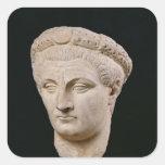 Busto del emperador Claudius de Thasos Pegatina Cuadrada