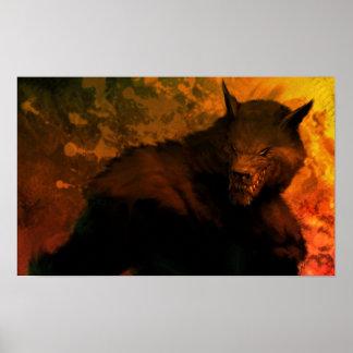 busto del hombre lobo póster