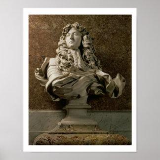 Busto del retrato de Louis XIV (1638-1715), 1665,  Póster