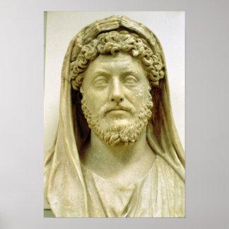 Busto del retrato de Marco Aurelius Poster