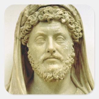 Busto del retrato de Marco Aurelius Pegatina Cuadrada
