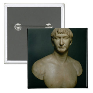 Busto del retrato del emperador Trajan (53-117 ANU Pin Cuadrado