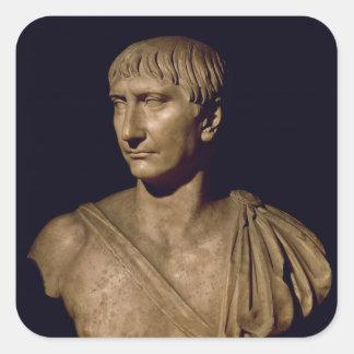 Busto del retrato del emperador Trajan Pegatina Cuadrada