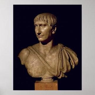 Busto del retrato del emperador Trajan Póster