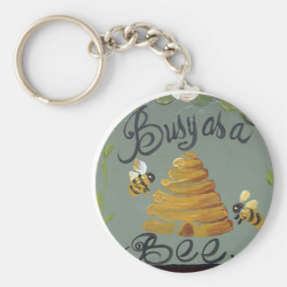 Busy As A Bee Basic Round Button Keychain