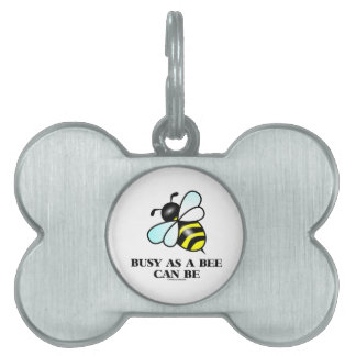 Busy As A Bee Can Be (Bee Drawing) Pet ID Tag