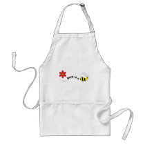 Busy as a Bee Happy Bees and Flowers Cartoon Adult Apron