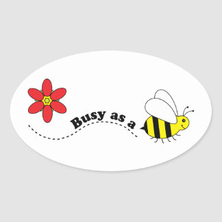 Busy as a Bee Happy Bees and Flowers Cartoon Oval Sticker