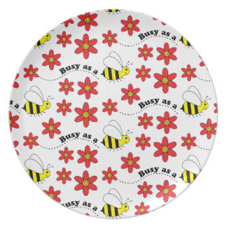 Busy as a Bee Picnic BBQ Happy Summer Dinner Plate