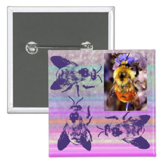 Busy as a Bee Square Button